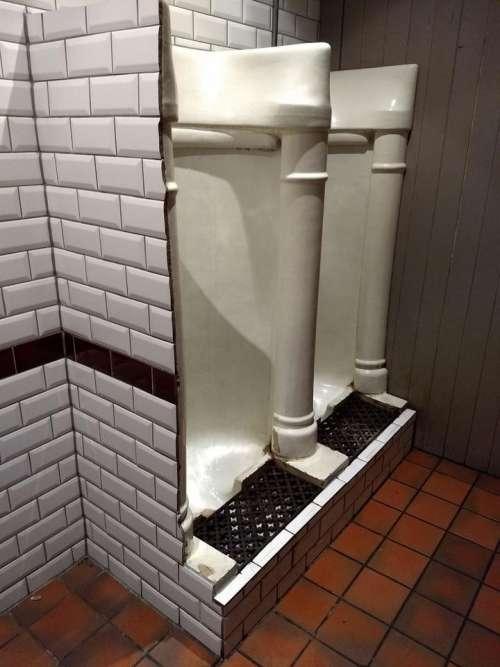 urinals vintage porcelain black white