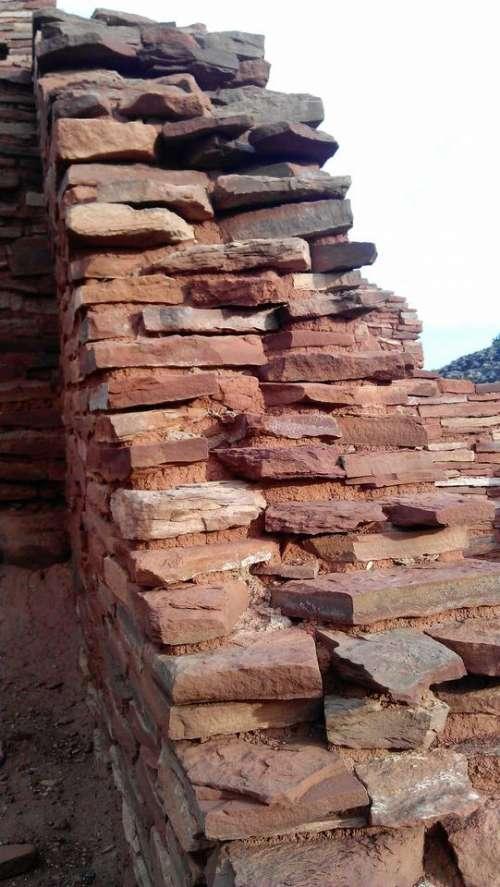 Wupatki National Monument stonework masonry flagstone ruins