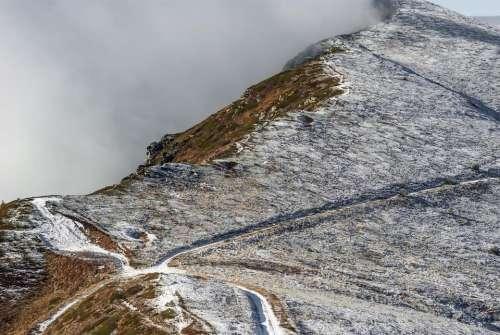 crossroads mountain snow fog autumn
