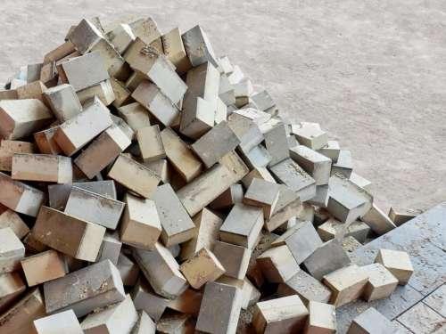 bricks pile rubble construction build