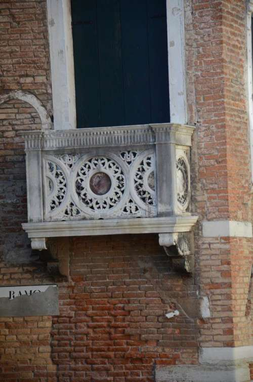 architecture balcony Venice Italy brick