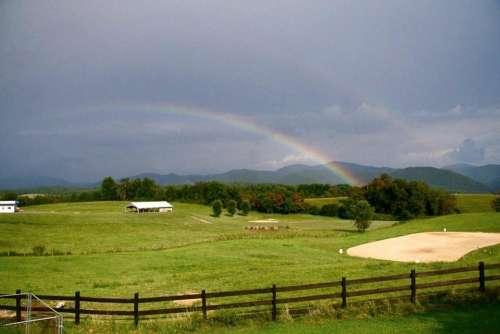 Virginia Farm Blue Ridge Mountains Double Rainbow Rainbow