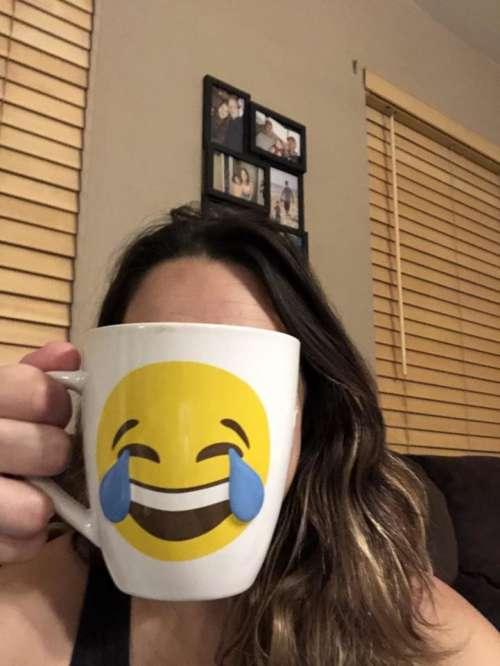 emoji coffee cup morning face