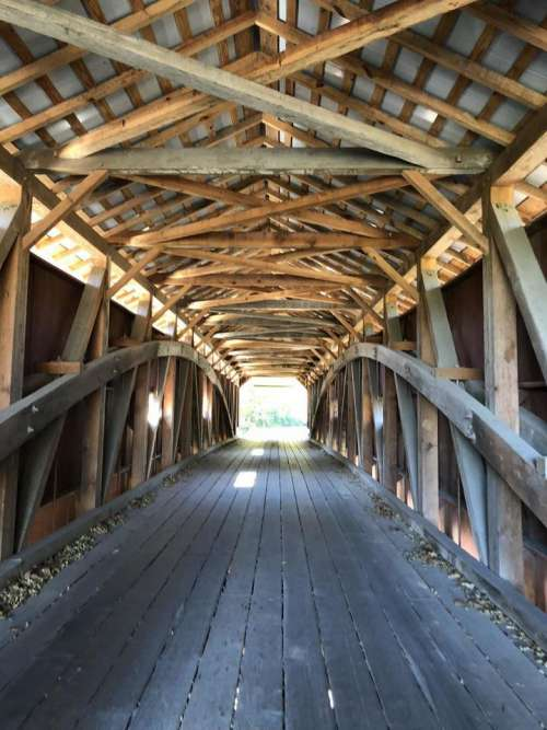 Covered bridge wooden planks bridge