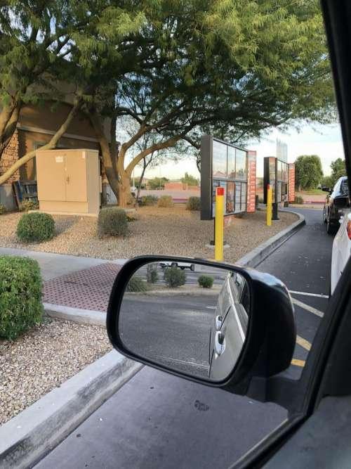 Rear view mirror rearview drive thru fast food