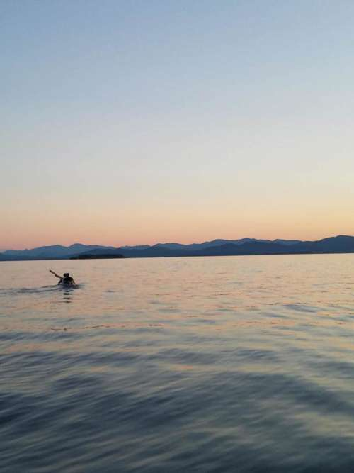 Kayak sunset lake scenery Lake Champlian