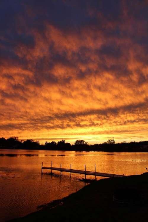 #sunset #trees #lake #dock