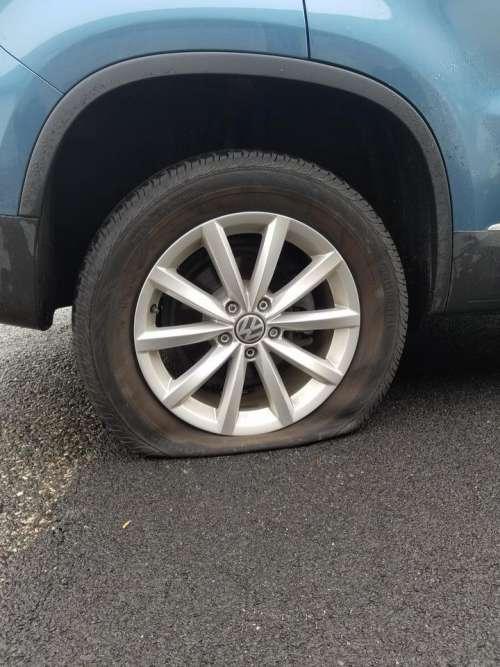 Flat tire bad luck hazard