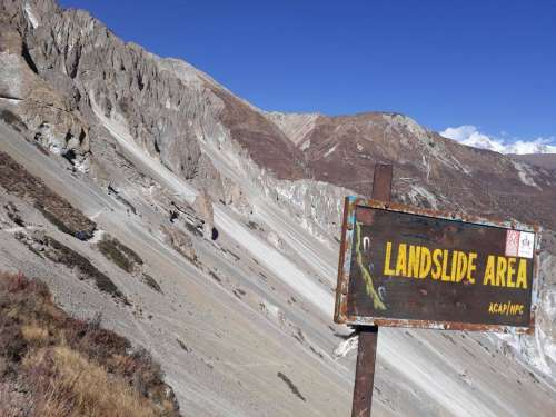 Mountain landslide danger