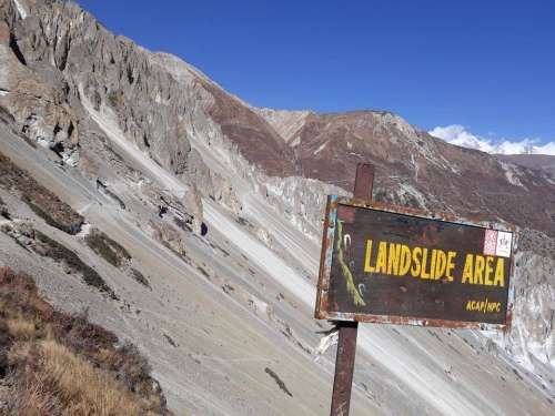 Landslide danger Himmalay mountains mountains Nepal