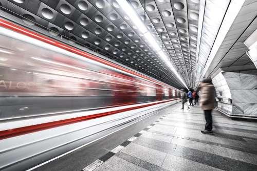 Prague Metro Underground Subway Station