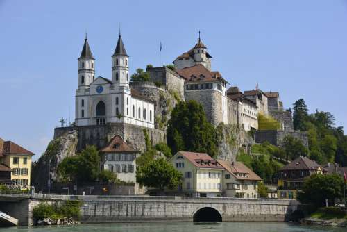 Aarau Switzerland City Church Wall River