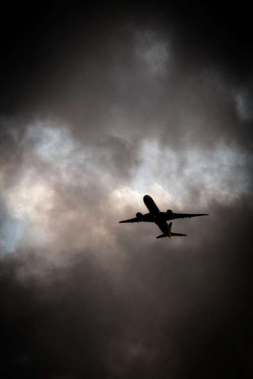 Aircraft Clouds Travel Vacations Weather Dark