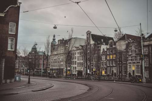 Amsterdam Hazy Weather Morning Avenue Empty Street