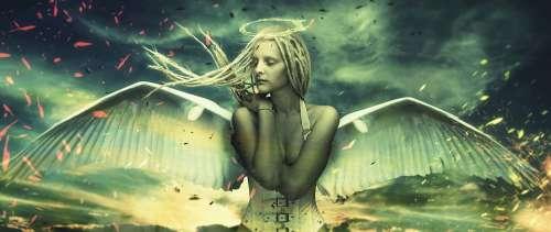 Angel Woman Wing Fantasy Mystical Magic Sky God
