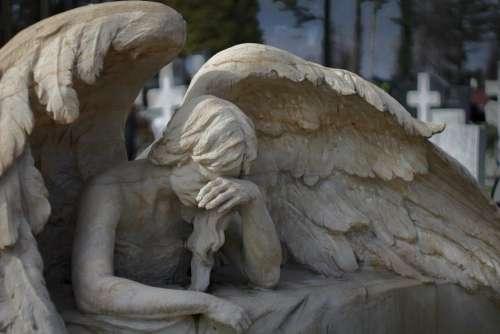 Angel Sadness Death Cemetery Sculpture Bereavement