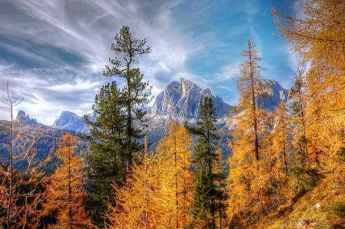 Autumn Dolomites Landscape Nature Mountains Sky