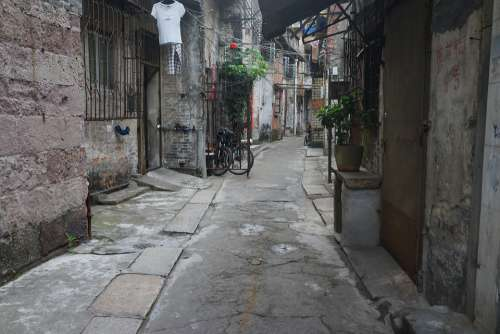 Back Lane Alleyways South China Guangzhou Old Times