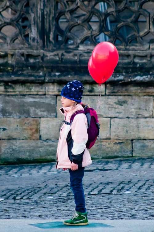 Balloons Girl Freedom Wish Thinking
