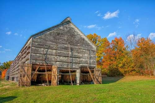 Barn Tobacco Farm Rural Landscape Vintage