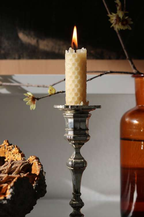 Beeswax Candle Decoration Winter Flame Cozy Light
