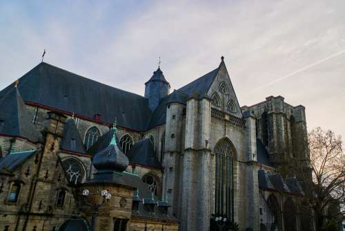 Belgium Gent Church Twilight Mood Old Past