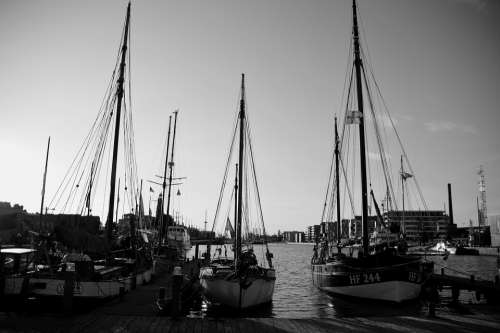 Black And White White Black Sunset Landscape Boats