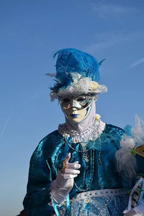 Blue Sky Mask Costume Finger Carnival Venice