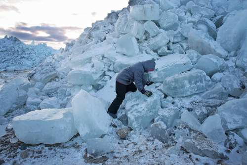 Blue Ice Ice Boulders Winter Cold Freezing Pile