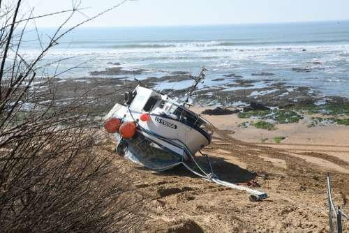 Boat Stranding Elizabeth Vendée France Sea Side