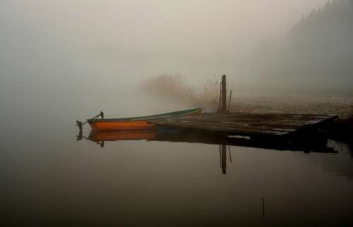Boat Water Lake Sunrise Mood Fog Lighting