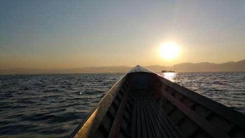 Boat Lake Canoeing Nature Sailing Boat Sky Sunset