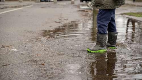 Boy Rain Boots Girl Pool Dirty Rain Wet Water