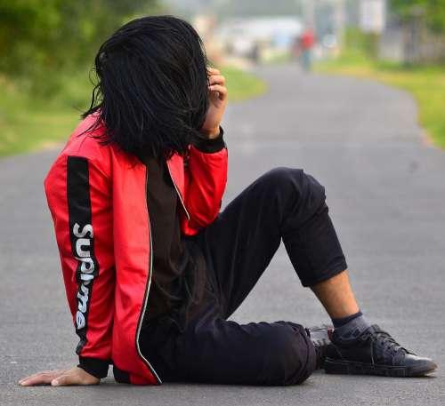 Boy Stylistic Sadness Emotion Set Down On The Road