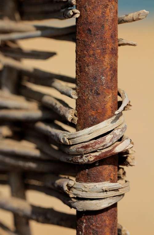 Braid Rust Rusty Grid Metal Fenced Barrier