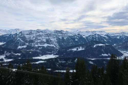 Bregenzerwald Mountains Winter Snow Clouds