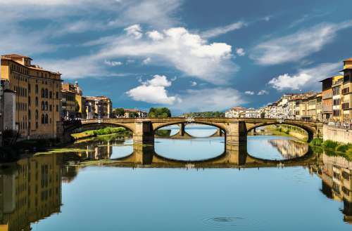 Bridge Florence Italy River City Water Old