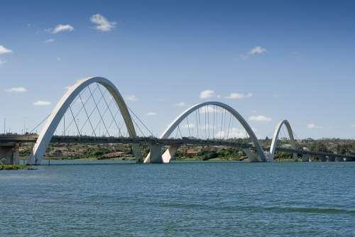 Bridge Brasilia Brazil Blue Lake Landscape Sky