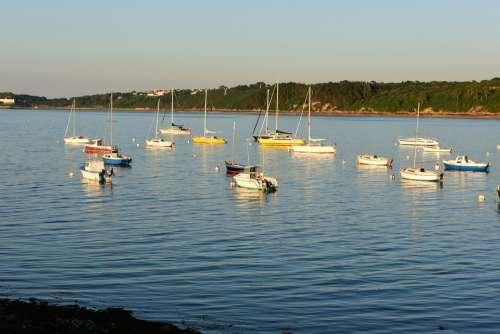 Brittany Coast Sailing Boats Evening Bay