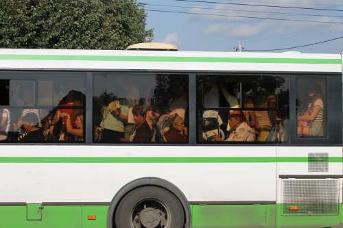 Bus Passengers Filled With Jam Transport