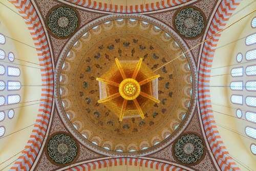 Cami Istanbul Turkey Dome Chandelier Religion
