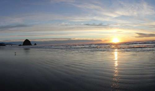 Cannon Beach Ocean Sunset Haystack Coastline