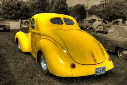 Car Antique Collectible Vintage Yellow Retro Old