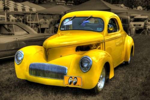 Car Antique Collectible Vintage Yellow Retro Old