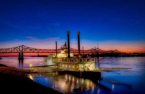 Casino Boat Ship Gambling Mississippi River Bridge