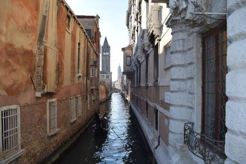 Channel Corridor Water Venice Architecture Clock