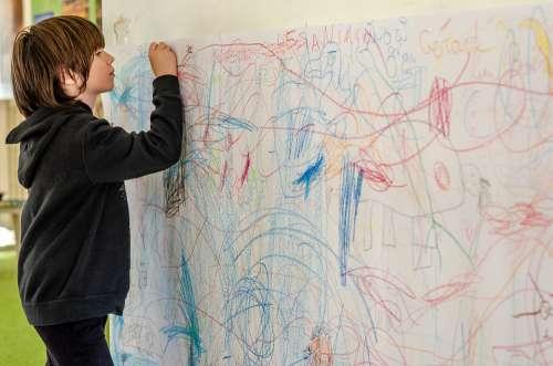 Child Draw Scribbles Cute Childhood Fun Boy