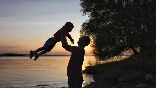 Child Silhouette Family Human Man Sky Happy
