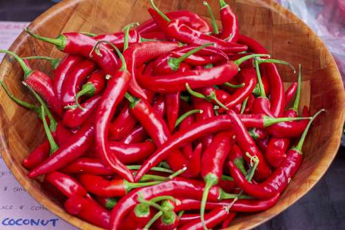 Chilli Food Hot Red Bowl Market Spicy Vegetables