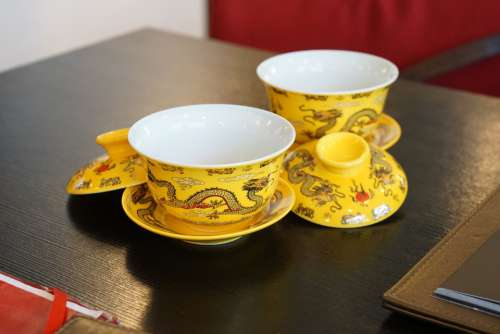 Chinese Tea Cups Tea Cup Traditional Tea Cup Yellow